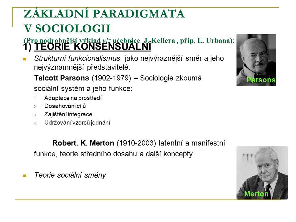 ZÁKLADNÍ PARADIGMATA V SOCIOLOGII (Pro podrobnější výklad viz učebnice J.