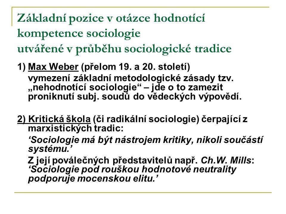 Základní pozice v otázce hodnotící kompetence sociologie utvářené v průběhu sociologické tradice 1)Max Weber (přelom 19. a 20. století) vymezení zákla