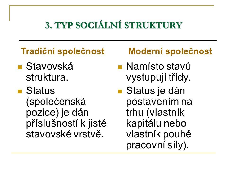 3. TYP SOCIÁLNÍ STRUKTURY Stavovská struktura. Status (společenská pozice) je dán příslušností k jisté stavovské vrstvě. Namísto stavů vystupují třídy