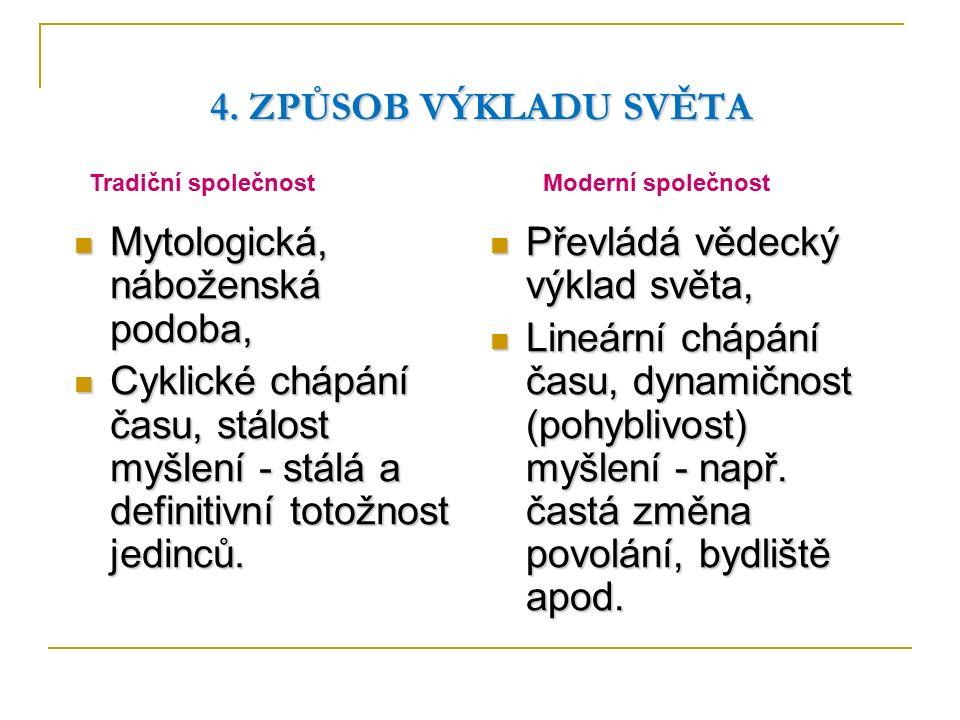 4. ZPŮSOB VÝKLADU SVĚTA Mytologická, náboženská podoba, Mytologická, náboženská podoba, Cyklické chápání času, stálost myšlení - stálá a definitivní t