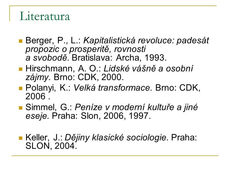 Literatura Berger, P., L.: Kapitalistická revoluce: padesát propozic o prosperitě, rovnosti a svobodě. Bratislava: Archa, 1993. Hirschmann, A. O.: Lid