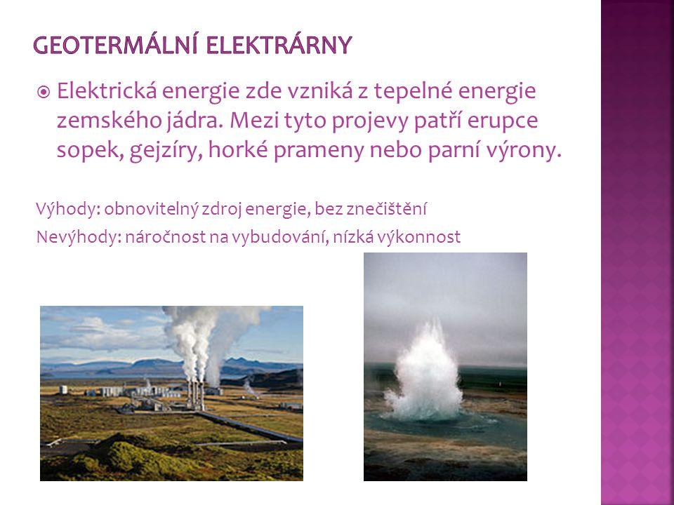  Elektrická energie zde vzniká z tepelné energie zemského jádra. Mezi tyto projevy patří erupce sopek, gejzíry, horké prameny nebo parní výrony. Výho
