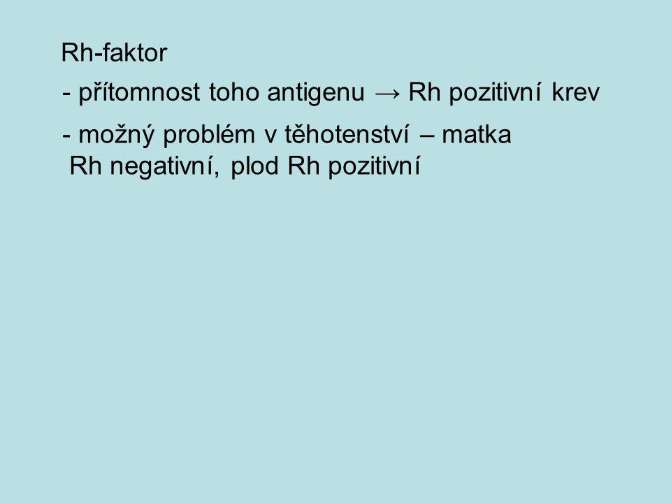 Rh-faktor - přítomnost toho antigenu → Rh pozitivní krev - možný problém v těhotenství – matka Rh negativní, plod Rh pozitivní