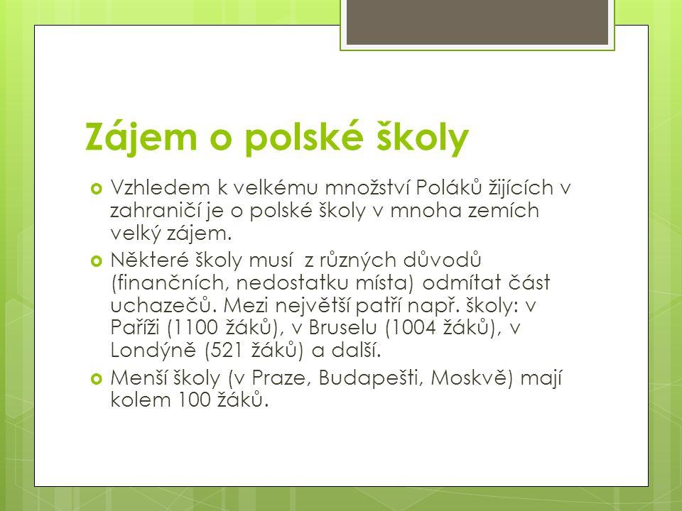 Zájem o polské školy  Vzhledem k velkému množství Poláků žijících v zahraničí je o polské školy v mnoha zemích velký zájem.  Některé školy musí z rů