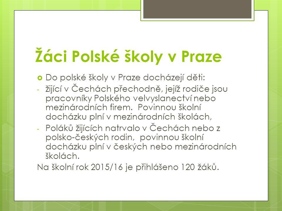 Žáci Polské školy v Praze  Do polské školy v Praze docházejí děti: - žijící v Čechách přechodně, jejíž rodiče jsou pracovníky Polského velvyslanectví