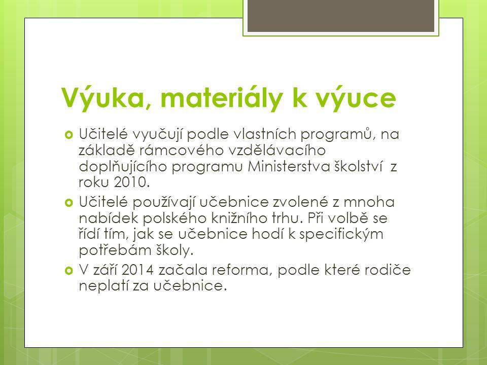 Výuka, materiály k výuce  Učitelé vyučují podle vlastních programů, na základě rámcového vzdělávacího doplňujícího programu Ministerstva školství z r