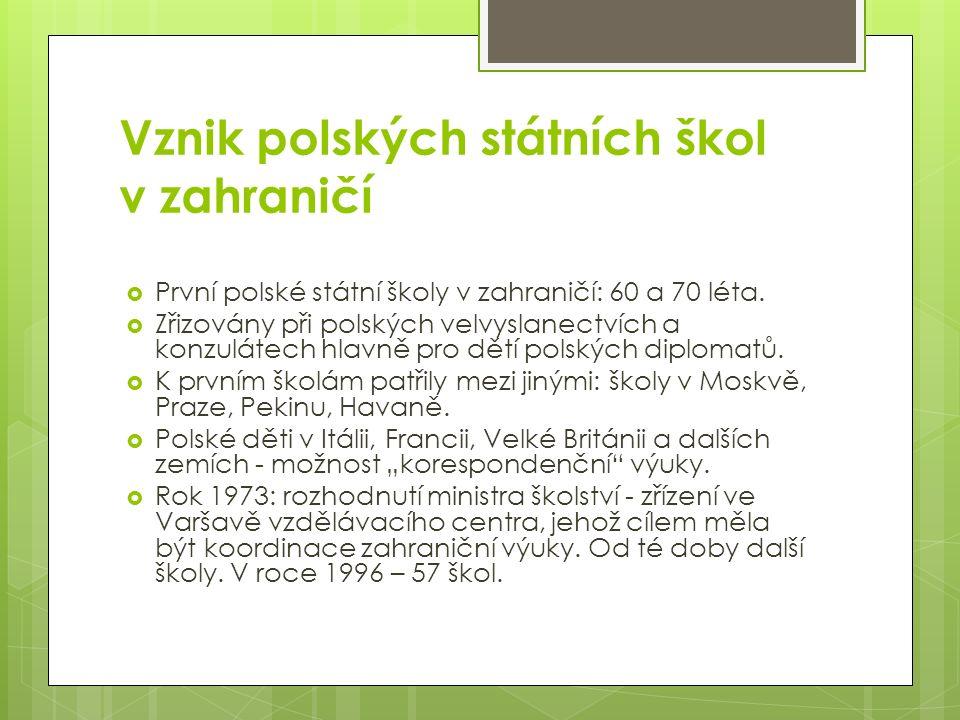 Vznik polských státních škol v zahraničí  První polské státní školy v zahraničí: 60 a 70 léta.  Zřizovány při polských velvyslanectvích a konzulátec