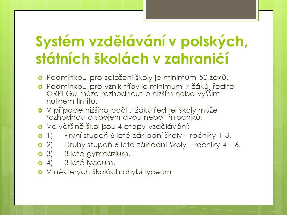 Systém vzdělávání v polských, státních školách v zahraničí  Podmínkou pro založení školy je minimum 50 žáků.  Podmínkou pro vznik třídy je minimum 7