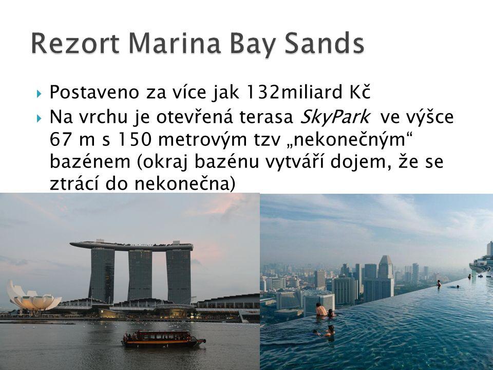 """ Postaveno za více jak 132miliard Kč  Na vrchu je otevřená terasa SkyPark ve výšce 67 m s 150 metrovým tzv """"nekonečným bazénem (okraj bazénu vytváří dojem, že se ztrácí do nekonečna)"""