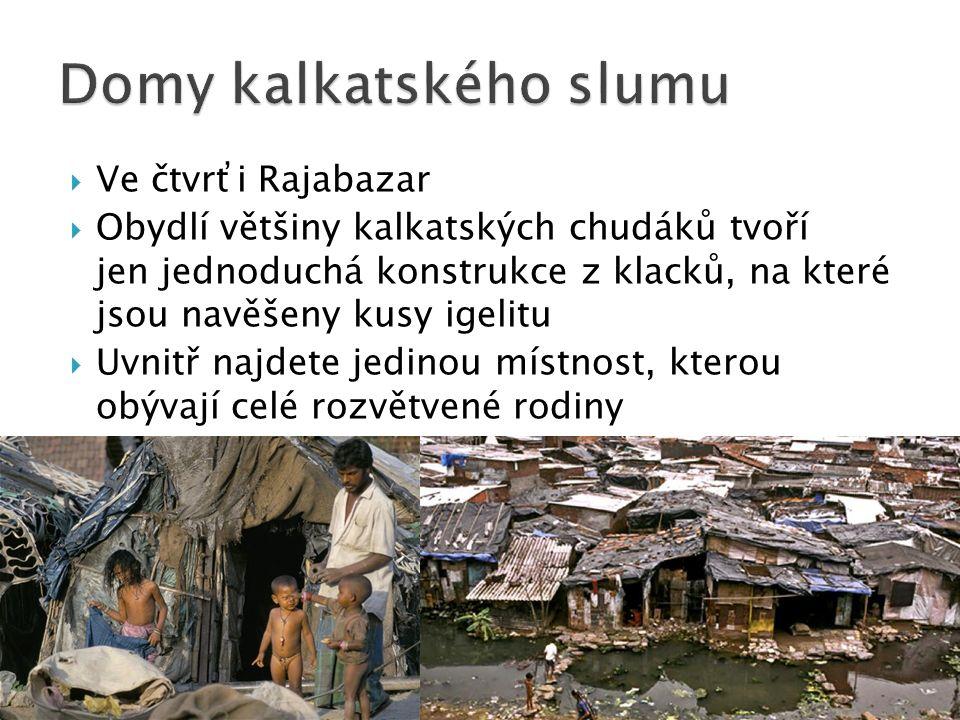  Ve čtvrťi Rajabazar  Obydlí většiny kalkatských chudáků tvoří jen jednoduchá konstrukce z klacků, na které jsou navěšeny kusy igelitu  Uvnitř najdete jedinou místnost, kterou obývají celé rozvětvené rodiny