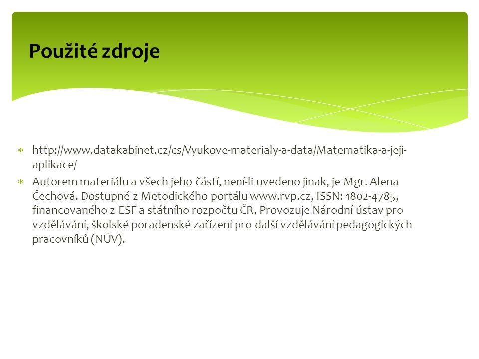  http://www.datakabinet.cz/cs/Vyukove-materialy-a-data/Matematika-a-jeji- aplikace/  Autorem materiálu a všech jeho částí, není-li uvedeno jinak, je Mgr.