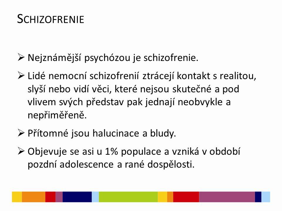 S CHIZOFRENIE  Nejznámější psychózou je schizofrenie.  Lidé nemocní schizofrenií ztrácejí kontakt s realitou, slyší nebo vidí věci, které nejsou sku