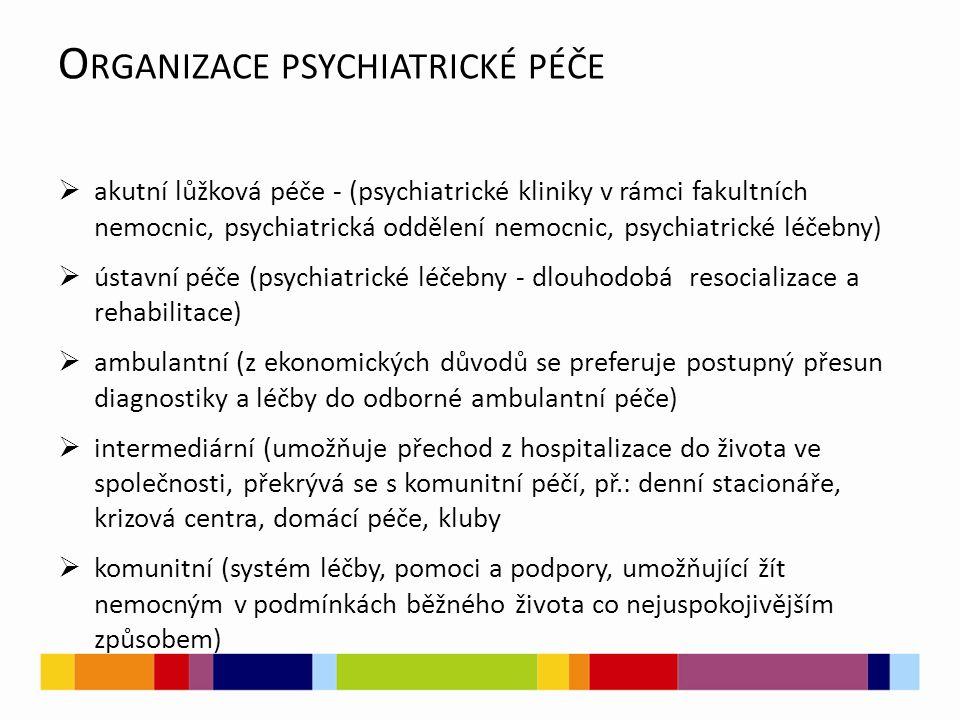 O RGANIZACE PSYCHIATRICKÉ PÉČE  akutní lůžková péče - (psychiatrické kliniky v rámci fakultních nemocnic, psychiatrická oddělení nemocnic, psychiatrické léčebny)  ústavní péče (psychiatrické léčebny - dlouhodobá resocializace a rehabilitace)  ambulantní (z ekonomických důvodů se preferuje postupný přesun diagnostiky a léčby do odborné ambulantní péče)  intermediární (umožňuje přechod z hospitalizace do života ve společnosti, překrývá se s komunitní péčí, př.: denní stacionáře, krizová centra, domácí péče, kluby  komunitní (systém léčby, pomoci a podpory, umožňující žít nemocným v podmínkách běžného života co nejuspokojivějším způsobem)