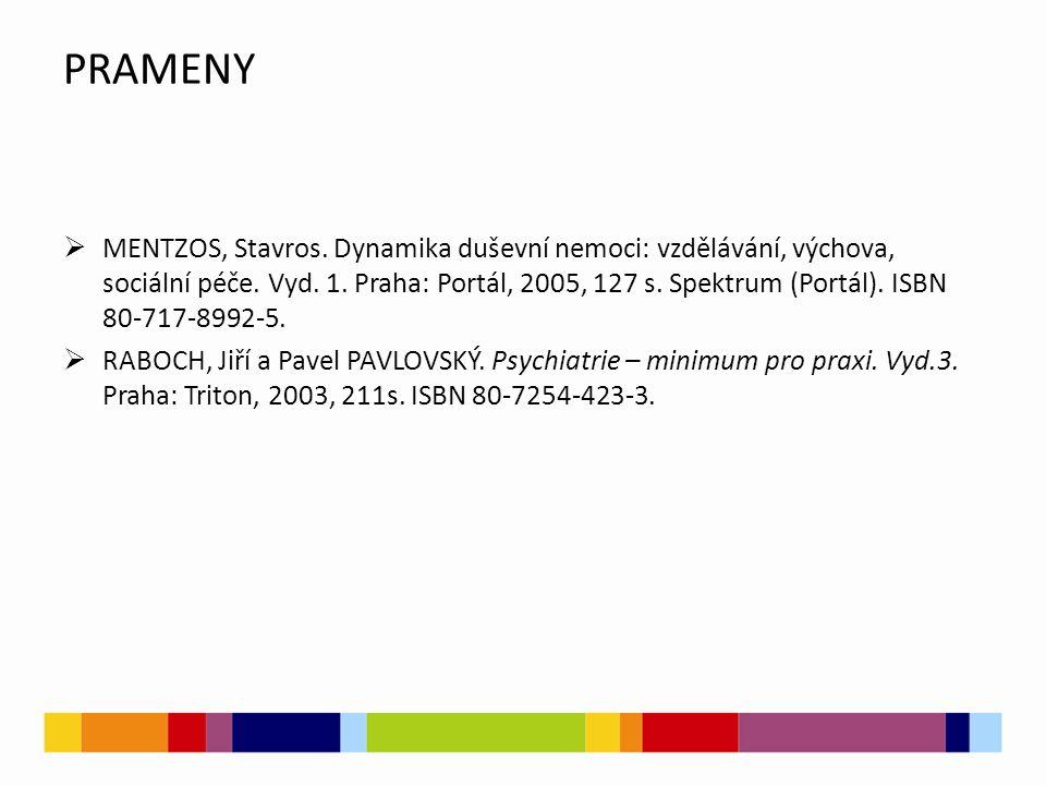PRAMENY  MENTZOS, Stavros. Dynamika duševní nemoci: vzdělávání, výchova, sociální péče. Vyd. 1. Praha: Portál, 2005, 127 s. Spektrum (Portál). ISBN 8
