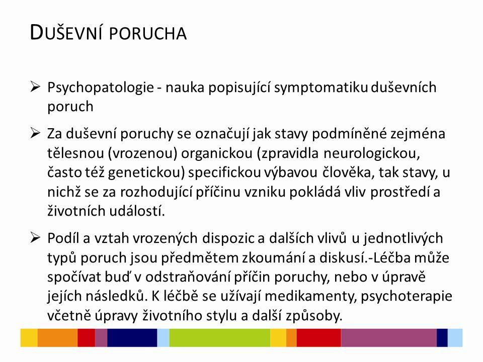 D UŠEVNÍ PORUCHA  Psychopatologie - nauka popisující symptomatiku duševních poruch  Za duševní poruchy se označují jak stavy podmíněné zejména tělesnou (vrozenou) organickou (zpravidla neurologickou, často též genetickou) specifickou výbavou člověka, tak stavy, u nichž se za rozhodující příčinu vzniku pokládá vliv prostředí a životních událostí.