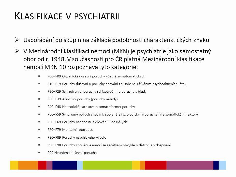 K LASIFIKACE V PSYCHIATRII  Uspořádání do skupin na základě podobnosti charakteristických znaků  V Mezinárodní klasifikaci nemocí (MKN) je psychiatrie jako samostatný obor od r.
