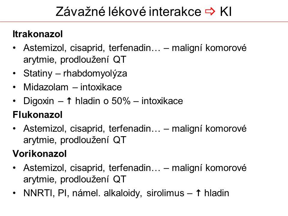 Závažné lékové interakce  KI Itrakonazol Astemizol, cisaprid, terfenadin… – maligní komorové arytmie, prodloužení QT Statiny – rhabdomyolýza Midazolam – intoxikace Digoxin –  hladin o 50% – intoxikace Flukonazol Astemizol, cisaprid, terfenadin… – maligní komorové arytmie, prodloužení QT Vorikonazol Astemizol, cisaprid, terfenadin… – maligní komorové arytmie, prodloužení QT NNRTI, PI, námel.