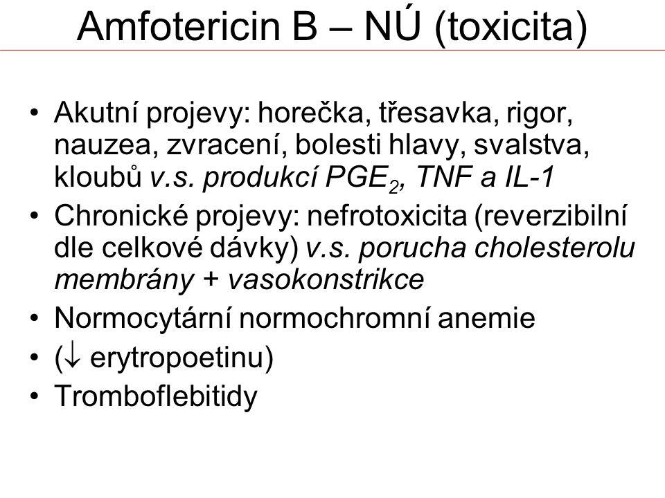 Amfotericin B – NÚ (toxicita) Akutní projevy: horečka, třesavka, rigor, nauzea, zvracení, bolesti hlavy, svalstva, kloubů v.s.