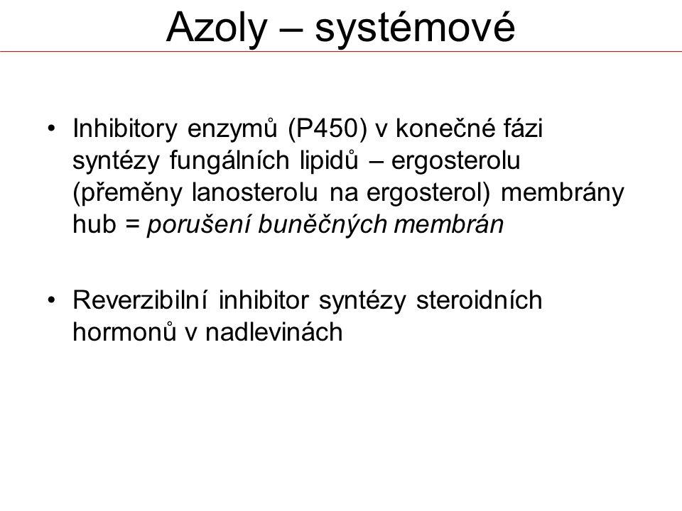 Azoly – systémové Inhibitory enzymů (P450) v konečné fázi syntézy fungálních lipidů – ergosterolu (přeměny lanosterolu na ergosterol) membrány hub = porušení buněčných membrán Reverzibilní inhibitor syntézy steroidních hormonů v nadlevinách