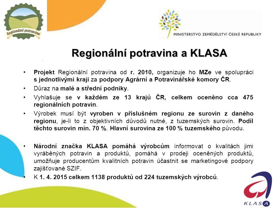 Regionální potravina a KLASA Projekt Regionální potravina od r.