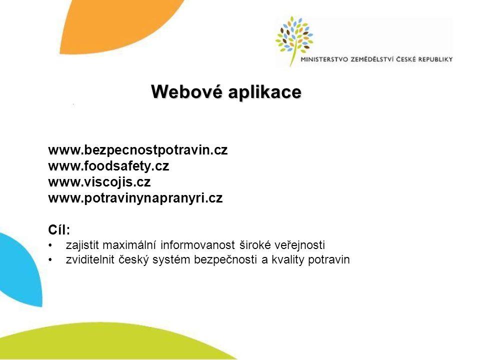 Webové aplikace www.bezpecnostpotravin.cz www.foodsafety.cz www.viscojis.cz www.potravinynapranyri.cz Cíl: zajistit maximální informovanost široké veřejnosti zviditelnit český systém bezpečnosti a kvality potravin