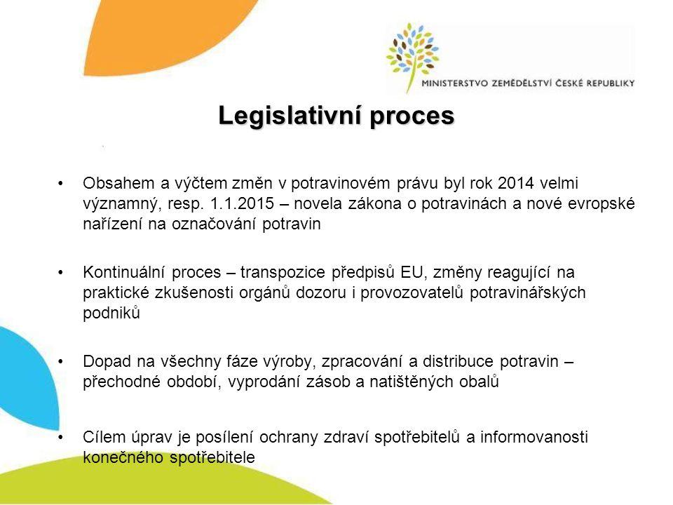 Legislativní proces Obsahem a výčtem změn v potravinovém právu byl rok 2014 velmi významný, resp.