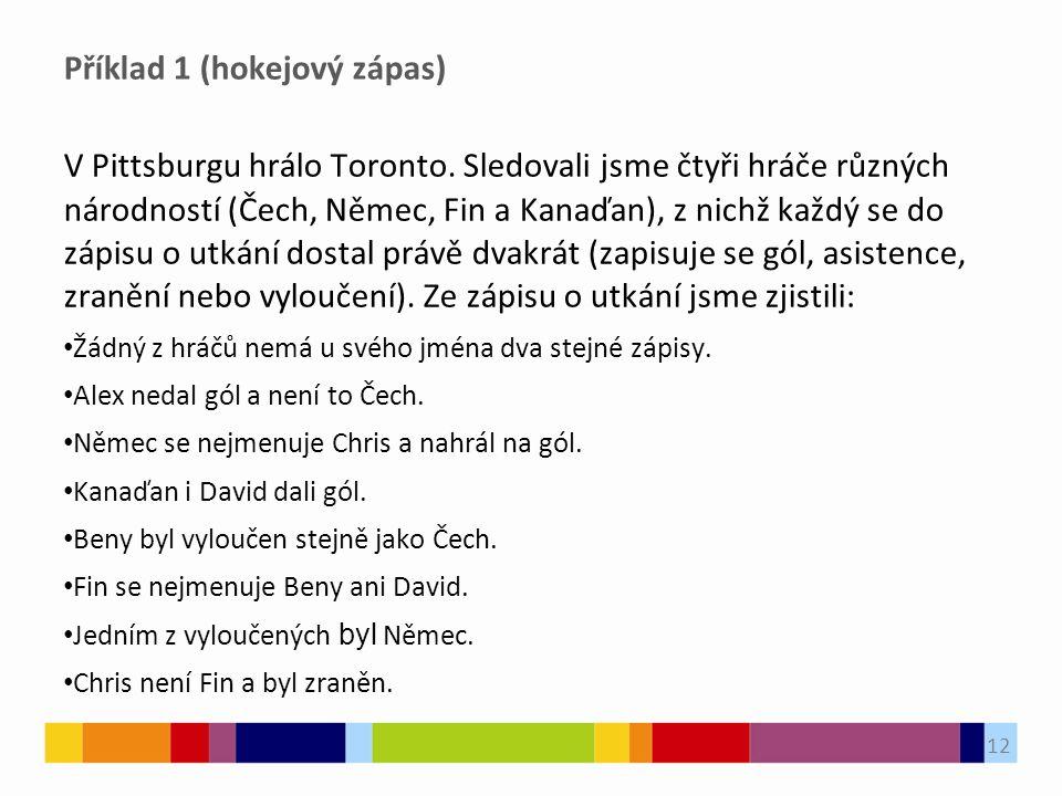 Příklad 1 (hokejový zápas) V Pittsburgu hrálo Toronto. Sledovali jsme čtyři hráče různých národností (Čech, Němec, Fin a Kanaďan), z nichž každý se do