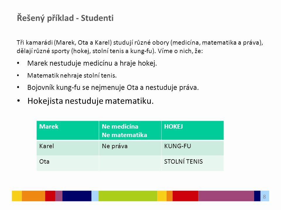 Řešený příklad - Studenti Tři kamarádi (Marek, Ota a Karel) studují různé obory (medicína, matematika a práva), dělají různé sporty (hokej, stolní tenis a kung-fu).
