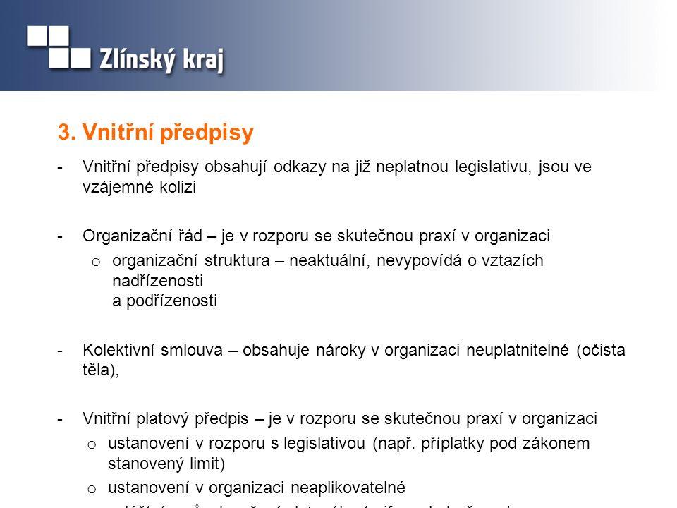 3. Vnitřní předpisy -Vnitřní předpisy obsahují odkazy na již neplatnou legislativu, jsou ve vzájemné kolizi -Organizační řád – je v rozporu se skutečn