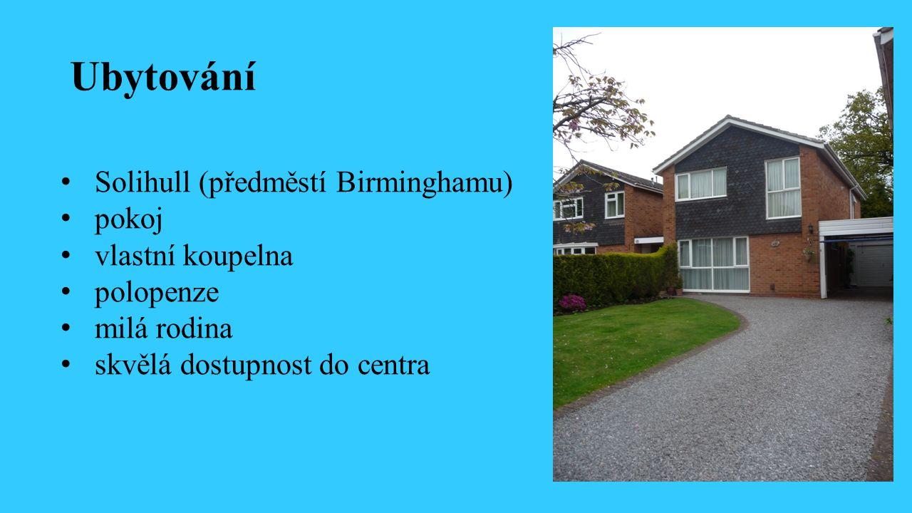 Ubytování Solihull (předměstí Birminghamu) pokoj vlastní koupelna polopenze milá rodina skvělá dostupnost do centra