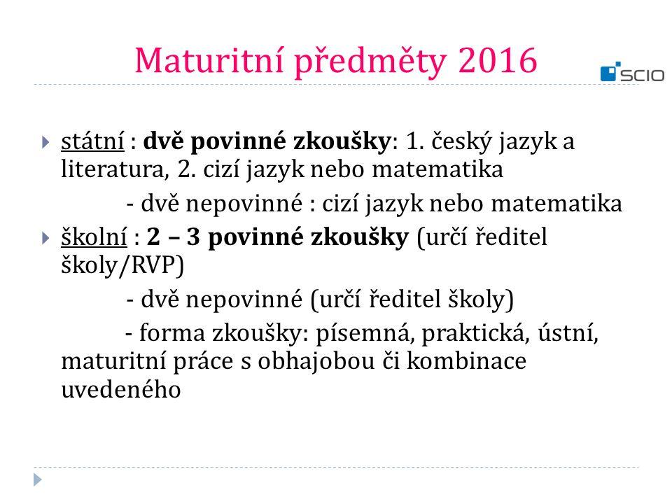 Maturitní předměty 2016  státní : dvě povinné zkoušky: 1. český jazyk a literatura, 2. cizí jazyk nebo matematika - dvě nepovinné : cizí jazyk nebo m