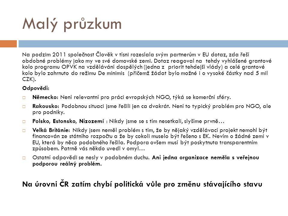 Malý průzkum Na podzim 2011 společnost Člověk v tísni rozeslala svým partnerům v EU dotaz, zda řeší obdobné problémy jako my ve své domovské zemi.