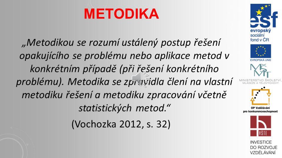 """METODIKA """"Metodikou se rozumí ustálený postup řešení opakujícího se problému nebo aplikace metod v konkrétním případě (při řešení konkrétního problému)."""