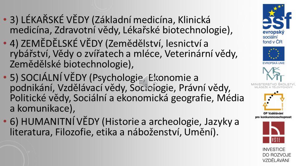 3) LÉKAŘSKÉ VĚDY (Základní medicína, Klinická medicína, Zdravotní vědy, Lékařské biotechnologie), 4) ZEMĚDĚLSKÉ VĚDY (Zemědělství, lesnictví a rybářství, Vědy o zvířatech a mléce, Veterinární vědy, Zemědělské biotechnologie), 5) SOCIÁLNÍ VĚDY (Psychologie, Ekonomie a podnikání, Vzdělávací vědy, Sociologie, Právní vědy, Politické vědy, Sociální a ekonomická geografie, Média a komunikace), 6) HUMANITNÍ VĚDY (Historie a archeologie, Jazyky a literatura, Filozofie, etika a náboženství, Umění).