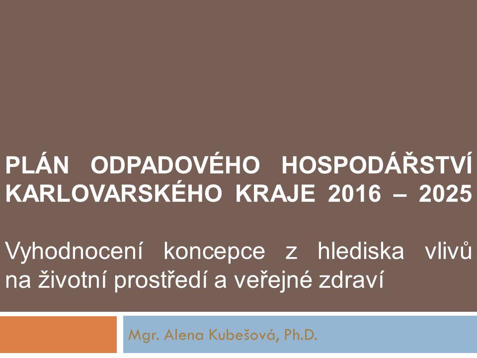 PLÁN ODPADOVÉHO HOSPODÁŘSTVÍ KARLOVARSKÉHO KRAJE 2016 – 2025 Vyhodnocení koncepce z hlediska vlivů na životní prostředí a veřejné zdraví Mgr.