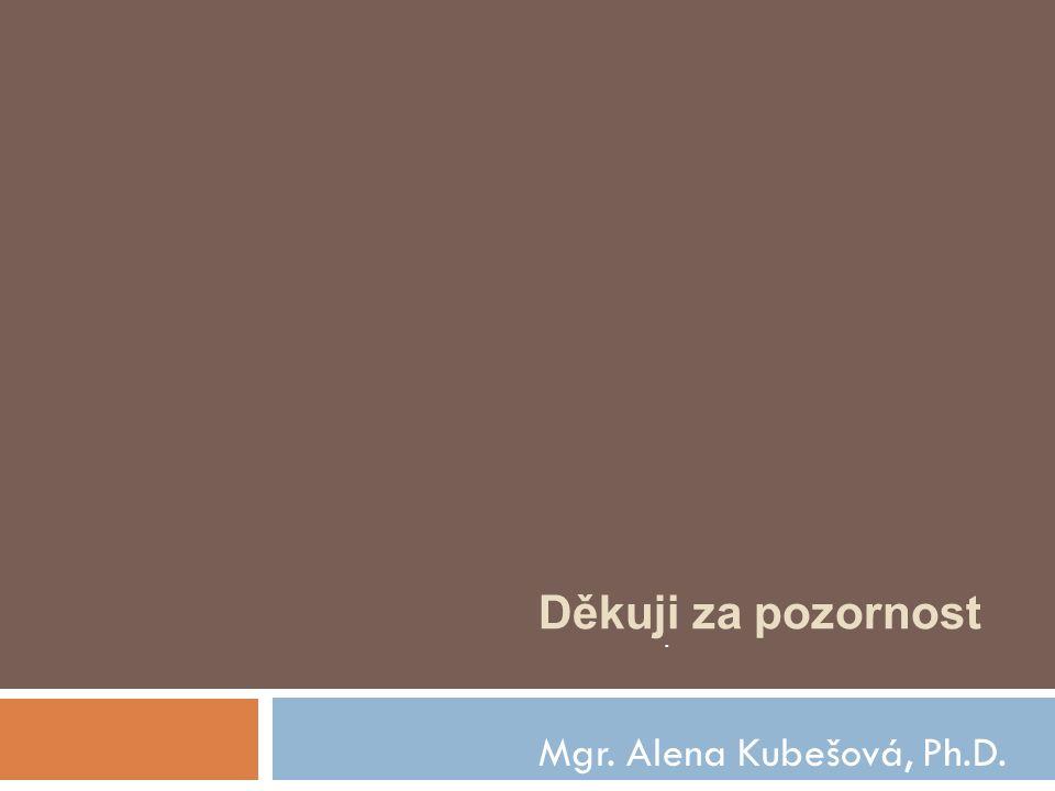 Mgr. Alena Kubešová, Ph.D.. Děkuji za pozornost