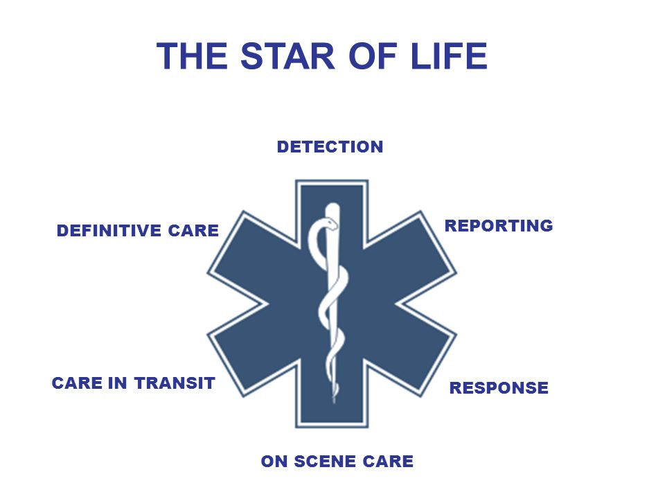 THE STAR OF LIFE DETECTION REPORTING RESPONSE ON SCENE CARE CARE IN TRANSIT DEFINITIVE CARE