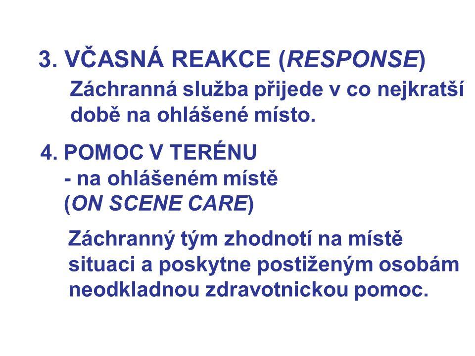 3. VČASNÁ REAKCE (RESPONSE) Záchranná služba přijede v co nejkratší době na ohlášené místo. 4. POMOC V TERÉNU - na ohlášeném místě (ON SCENE CARE) Zác