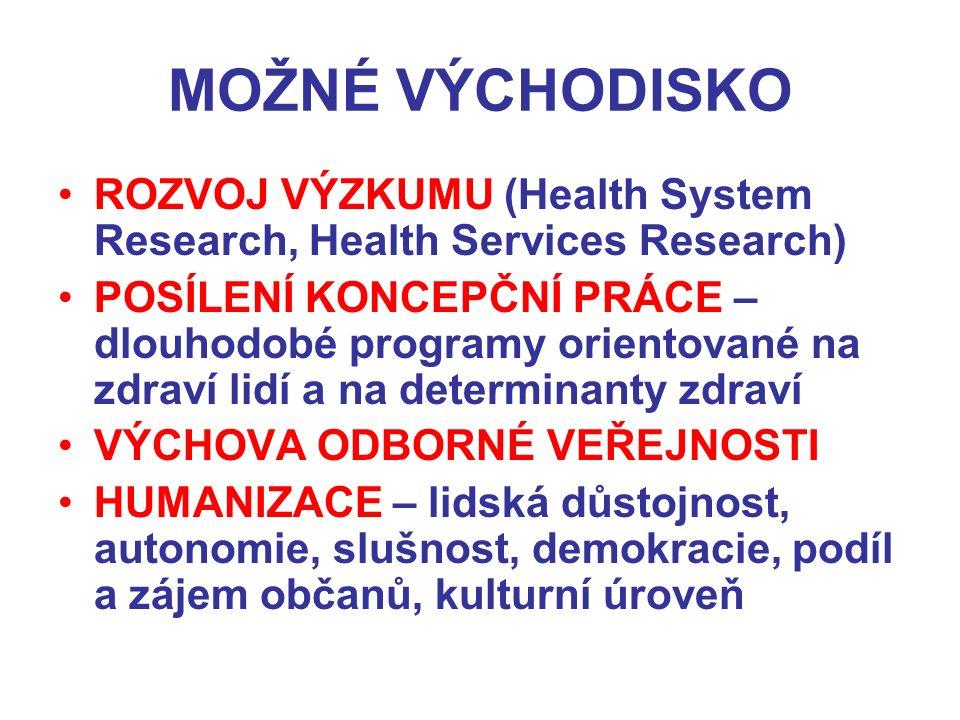 MOŽNÉ VÝCHODISKO ROZVOJ VÝZKUMU (Health System Research, Health Services Research) POSÍLENÍ KONCEPČNÍ PRÁCE – dlouhodobé programy orientované na zdraví lidí a na determinanty zdraví VÝCHOVA ODBORNÉ VEŘEJNOSTI HUMANIZACE – lidská důstojnost, autonomie, slušnost, demokracie, podíl a zájem občanů, kulturní úroveň
