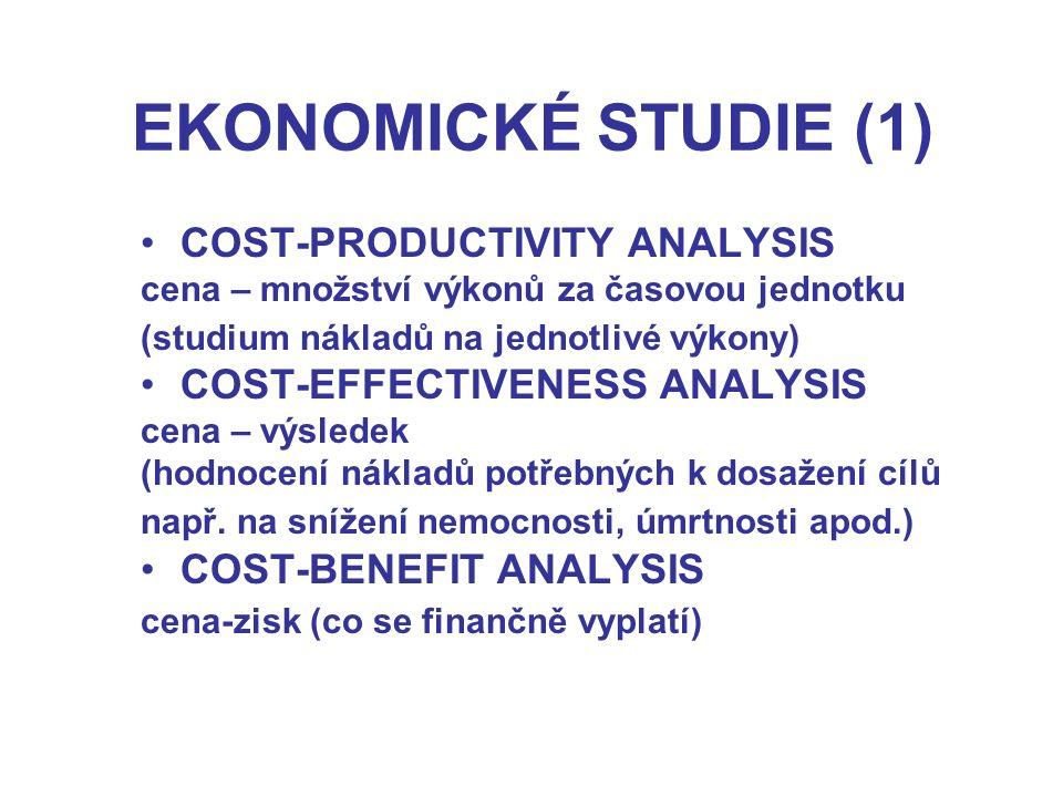 EKONOMICKÉ STUDIE (1) COST-PRODUCTIVITY ANALYSIS cena – množství výkonů za časovou jednotku (studium nákladů na jednotlivé výkony) COST-EFFECTIVENESS ANALYSIS cena – výsledek (hodnocení nákladů potřebných k dosažení cílů např.