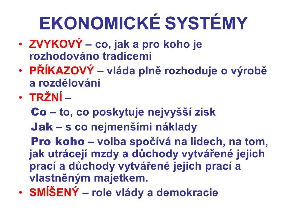 EKONOMICKÉ SYSTÉMY ZVYKOVÝ – co, jak a pro koho je rozhodováno tradicemi PŘÍKAZOVÝ – vláda plně rozhoduje o výrobě a rozdělování TRŽNÍ – Co – to, co p