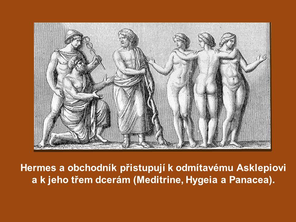 Hermes a obchodník přistupují k odmítavému Asklepiovi a k jeho třem dcerám (Meditrine, Hygeia a Panacea).