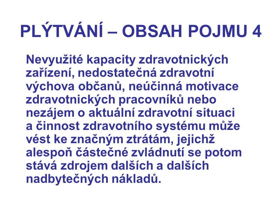 PLÝTVÁNÍ – OBSAH POJMU 4 Nevyužité kapacity zdravotnických zařízení, nedostatečná zdravotní výchova občanů, neúčinná motivace zdravotnických pracovník