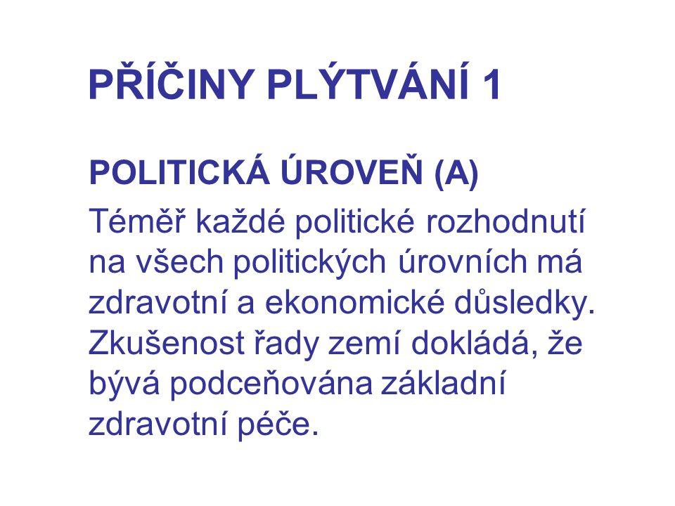 PŘÍČINY PLÝTVÁNÍ 1 POLITICKÁ ÚROVEŇ (A) Téměř každé politické rozhodnutí na všech politických úrovních má zdravotní a ekonomické důsledky. Zkušenost ř