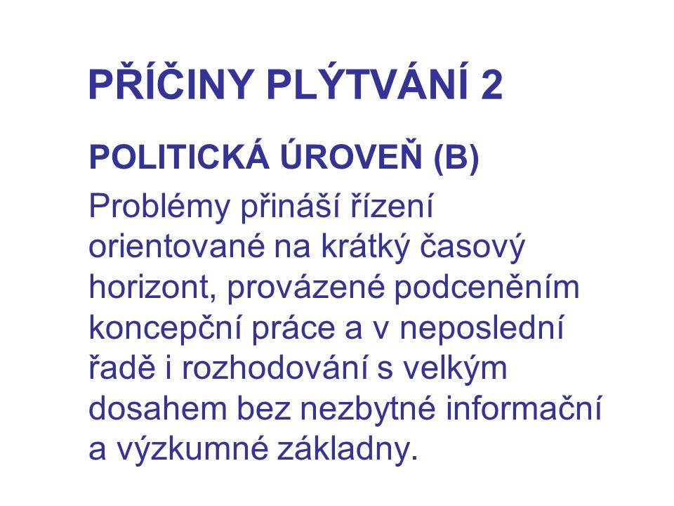 PŘÍČINY PLÝTVÁNÍ 2 POLITICKÁ ÚROVEŇ (B) Problémy přináší řízení orientované na krátký časový horizont, provázené podceněním koncepční práce a v neposl