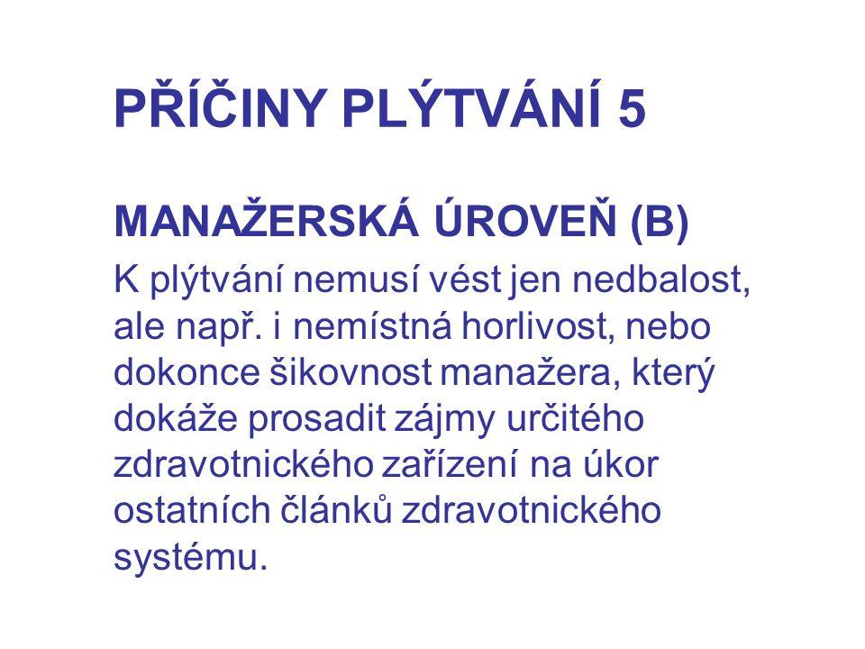 PŘÍČINY PLÝTVÁNÍ 5 MANAŽERSKÁ ÚROVEŇ (B) K plýtvání nemusí vést jen nedbalost, ale např.