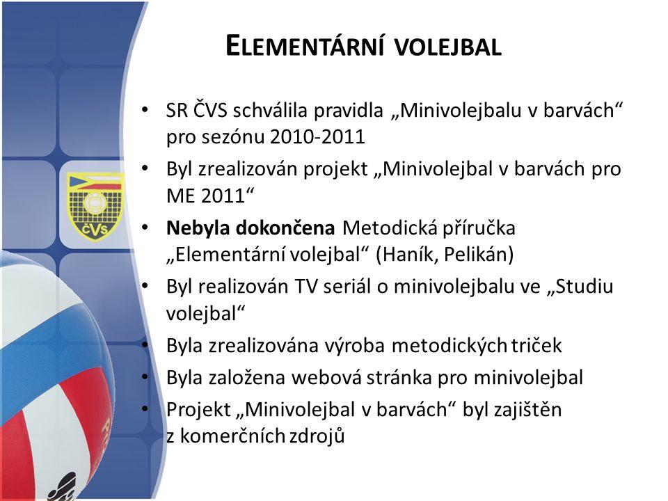 """E LEMENTÁRNÍ VOLEJBAL SR ČVS schválila pravidla """"Minivolejbalu v barvách"""" pro sezónu 2010-2011 Byl zrealizován projekt """"Minivolejbal v barvách pro ME"""
