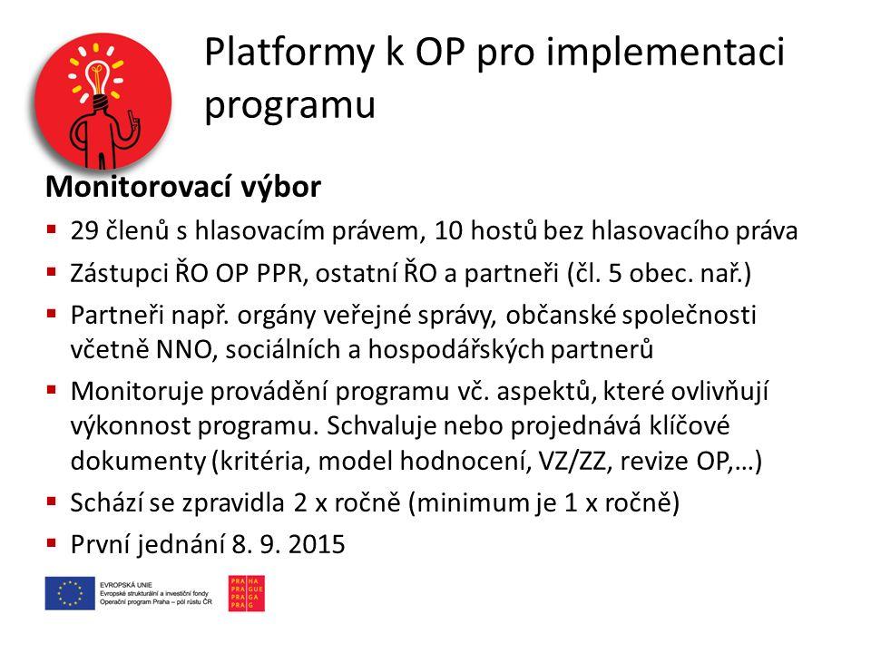 Platformy k OP pro implementaci programu Monitorovací výbor  29 členů s hlasovacím právem, 10 hostů bez hlasovacího práva  Zástupci ŘO OP PPR, ostat