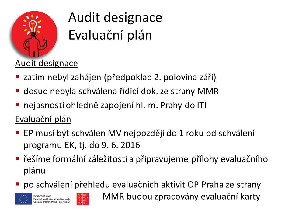 Audit designace Evaluační plán Audit designace  zatím nebyl zahájen (předpoklad 2. polovina září)  dosud nebyla schválena řídicí dok. ze strany MMR