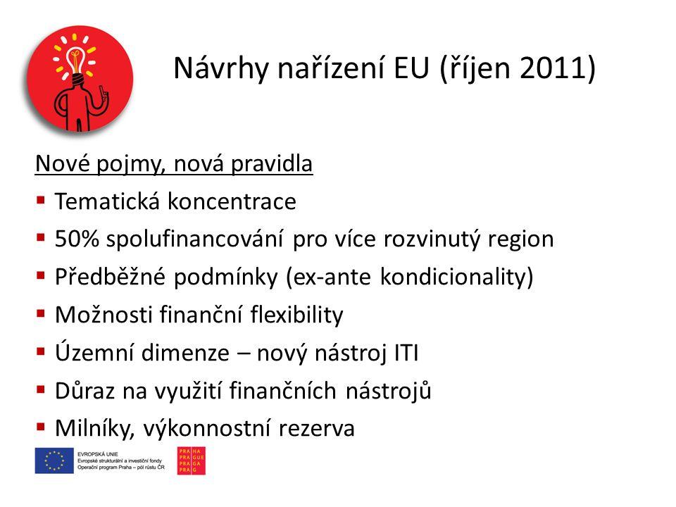 Návrhy nařízení EU (říjen 2011) Nové pojmy, nová pravidla  Tematická koncentrace  50% spolufinancování pro více rozvinutý region  Předběžné podmínk